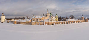 Pictures Russia Winter Temples Monastery Church Snow Fence Kirillo-Belozersky Monastery (Kirillov) Cities