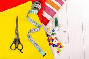 Fondos de escritorio Tijera Hilo de coser Botones Multicolor Paño Una cinta de medir