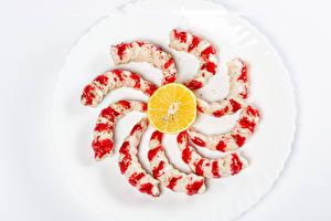 Desktop wallpapers Seafoods Caridea Lemons Plate Food