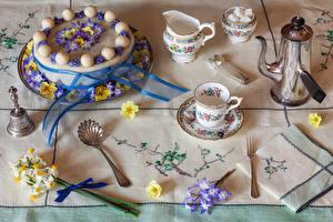 Photo Still-life Cakes Kettle Primula Daffodils Design Cup Sugar Spoon Fork Food