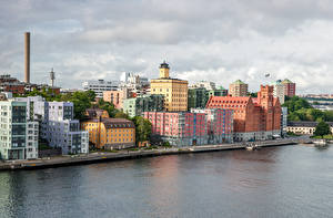Photo Sweden Stockholm Houses Berth Canal Cities