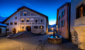 Pictures Switzerland Building Fountains Evening Street Guarda