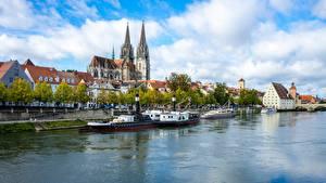 Bilder Schweiz Fluss Binnenschiff Regensburg, Dielsdorf, Canton of Zurich, Regan River Städte