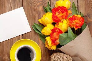 Desktop wallpapers Tulips Coffee Bouquet Wood planks Template greeting card Cup Flowers