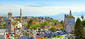 Hintergrundbilder Türkei Panorama Türme Palmen Antalya Städte