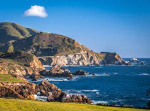 Wallpaper USA Coast Ocean Rock California Big Sur Nature
