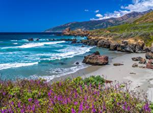 Tapety na pulpit USA Wybrzeże Ocean Góra Kamienie Kalifornia Big Sur
