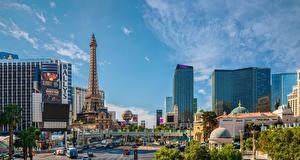 Bureaubladachtergronden Verenigde staten Huizen Las Vegas (Nevada) Straat Een toren een stad