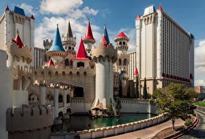 Bureaubladachtergronden Amerika Gebouwen Las Vegas (Nevada) Een toren een stad