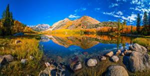Bilder USA Gebirge Herbst Panorama Stein Landschaftsfotografie Kalifornien Natur