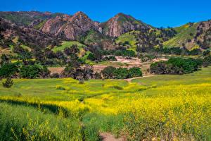 Papel de Parede Desktop EUA Montanhas Primavera Parques Califórnia Malibu Creek