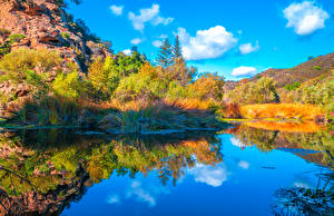 Desktop wallpapers USA Parks Mountains Lake California Trees Reflection Malibu Creek State Park Nature pictures images