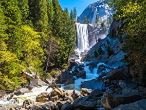Desktop hintergrundbilder USA Park Wasserfall Gebirge Stein Yosemite Kalifornien Natur