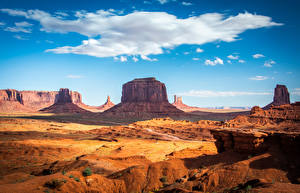 Picture USA Scenery Crag Clouds Monument Valley, Utah Nature