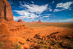 Pictures USA Stones Sky Cliff Clouds Monument Valley, Utah Nature