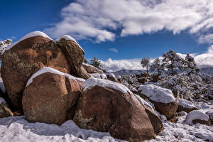 Images USA Winter Stone Snow Clouds Prescott, Arizona