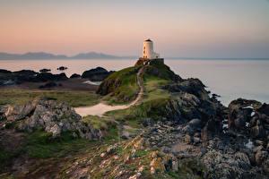 Fotos Vereinigtes Königreich Küste Leuchtturm Wales  Natur