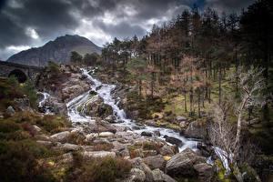 Tapety na pulpit Wielka Brytania Parki Góra Kamienie Rzeki Walia Drzewa Snowdonia