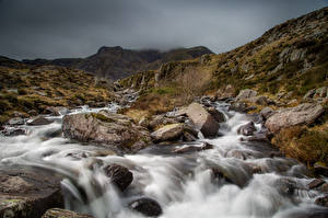Photo United Kingdom River Stones Parks Wales Clouds Snowdonia