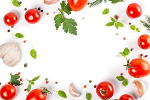 Fondos de escritorio Verdura Tomate Ajo Piper nigrum El fondo blanco Tarjeta de felicitación de la plant Alimentos