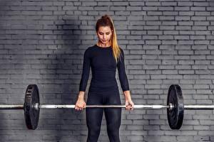 Hintergrundbilder Mauer Aus backsteinen Trainieren Hantelstange Hand Mädchens Sport