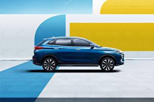 Desktop hintergrundbilder Crossover Seitlich Blau Metallisch Chinesisch Weltmeister EX5-Z, 2020 -- Autos