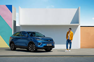 Desktop wallpapers CUV Blue Metallic Chinese Weltmeister EX5-Z, 2020 Cars