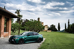 Desktop wallpapers Alfa Romeo Green Metallic Giulia GTA (952), 2021 automobile