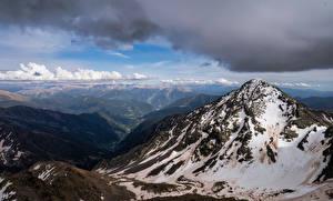 Bakgrunnsbilder Andorra Fjell Skyer Coma Pedrosa Natur