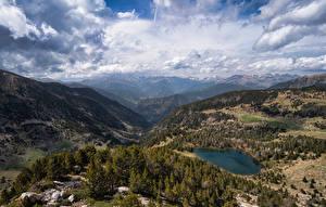 Bakgrunnsbilder Andorra Fjell Park Landskap Skyer Vall del Madriu-Perafita-Claror Natur