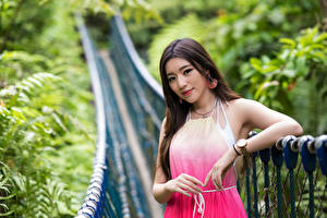 Picture Asian Bridge Dress Staring young woman