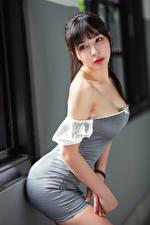 Fotos Asiaten Kleid Posiert Unscharfer Hintergrund Brünette Mädchens