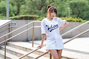 Hintergrundbilder Asiaten Pose Blick Mädchens