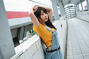 Hintergrundbilder Asiatische Posiert Blick Mädchens