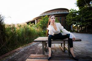 Fotos Asiaten Sitzt Bluse High Heels Starren Posiert junge frau