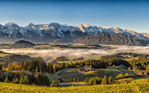 Images Austria Mountains Houses Grasslands Landscape photography Alps Fog