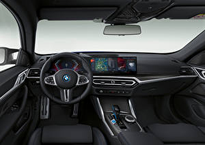 Hintergrundbilder BMW Salons Lenkrad i4 M50, (Worldwide), (G26), 2021 automobil