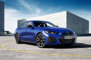 Wallpapers BMW Blue Metallic i4 M50, (Worldwide), (G26), 2021 auto