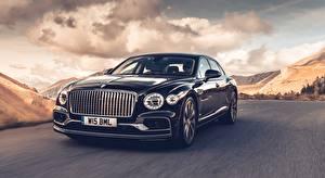 Picture Bentley At speed Black Front Sedan Flying Spur (Dark Sapphire), 2019