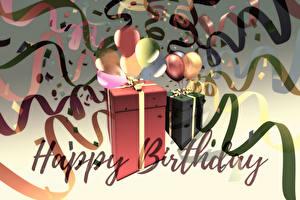 Fotos & Bilder Geburtstag Schachtel Geschenke Band Wort Englisch Kugeln Mädchens