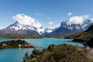 Papel de Parede Desktop Chile Lago Montanhas Parque Nuvem Torres del Paine National Park