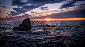 Bureaubladachtergronden Kroatië De zee Zonsopgangen en zonsondergangen Istria Natuur