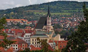 Image Czech Republic Houses Temples Roof Krumlov Cities
