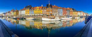 Image Denmark Copenhagen Building River Marinas Riverboat Panorama Cities