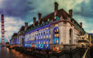 Wallpaper England Evening Building River Marinas Sculptures London Street lights Cities