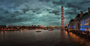 Picture England Building Rivers Marinas Evening London Cities