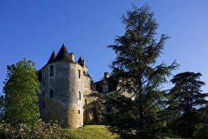 Bilder Frankreich Burg Turm Bäume Chateau de Fayrac