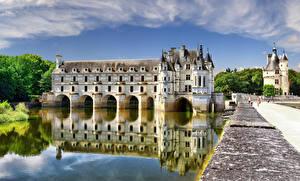Wallpaper France Castle Pond Chenonceau castle, Loire Castles