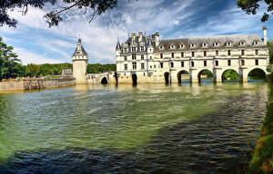 Bakgrundsbilder på skrivbordet Frankrike Borg Flod Chenonceau castle, Loire Castles
