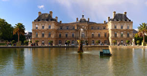 Pictures France Pond Sculptures Fountains Paris Palace Luxembourg Palace